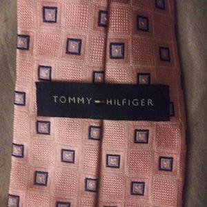 100% Silk Tommy Hilfiger Pink and Blue Tie